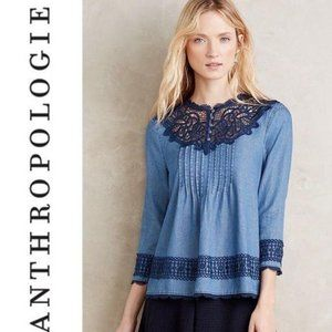 Anthropologie Holding Horses Chambray Top 4